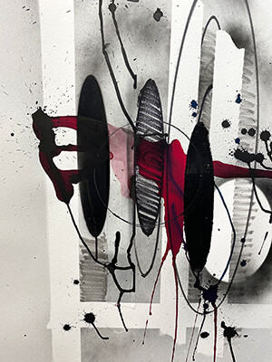 work on paper, Red Drip, by Nola Zirin